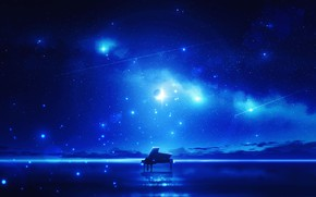 Picture the sky, water, night, music, piano