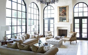 Picture Villa, interior, fireplace, living room, River Oaks home