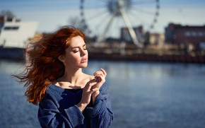 Picture water, girl, face, the wind, hair, hands, red, redhead, sweater, closed eyes, Anna Rawka
