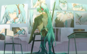 Picture girl, room, sitting, Hatsune Miku, Vocaloid, sad, portraits