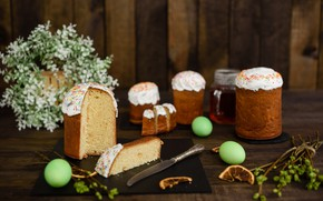 Picture flowers, holiday, lemon, Easter, knife, cake
