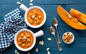 Picture food, soup, pumpkin, wood, croutons, Pumpkin soup