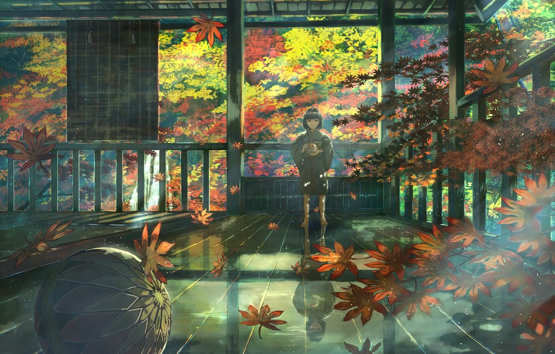 Photo wallpaper autumn, child, the ball, Zashiki-warashi