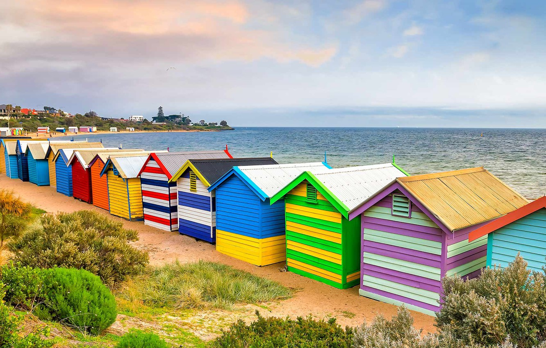 Photo wallpaper sea, Australia, Melbourne, beach house, Brighton Beach
