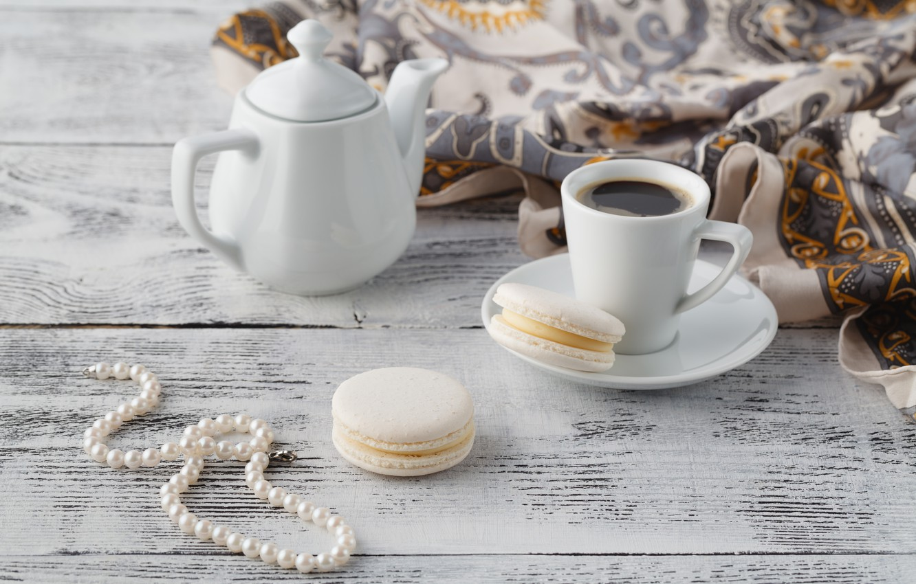 Photo wallpaper coffee, kettle, cookies, Cup, beads, shawl
