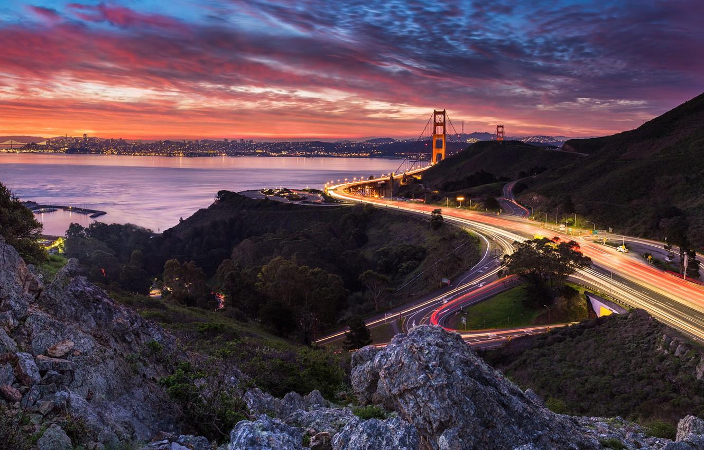 Photo wallpaper landscape, mountains, bridge, the city, rocks, the evening, lighting, Bay, USA, San Francisco, Bank