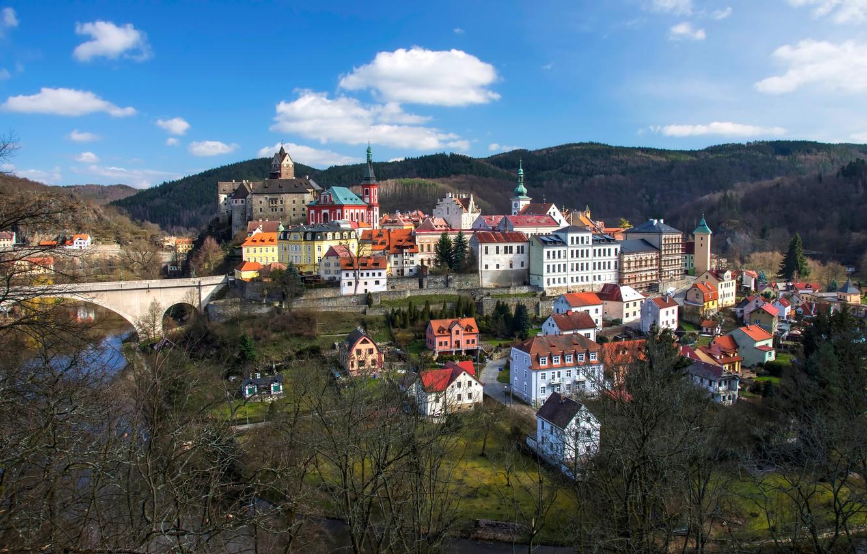 Photo wallpaper trees, bridge, river, building, home, Czech Republic, panorama, Karlovy Vary, Czech Republic, Karlovy Vary, Loket …