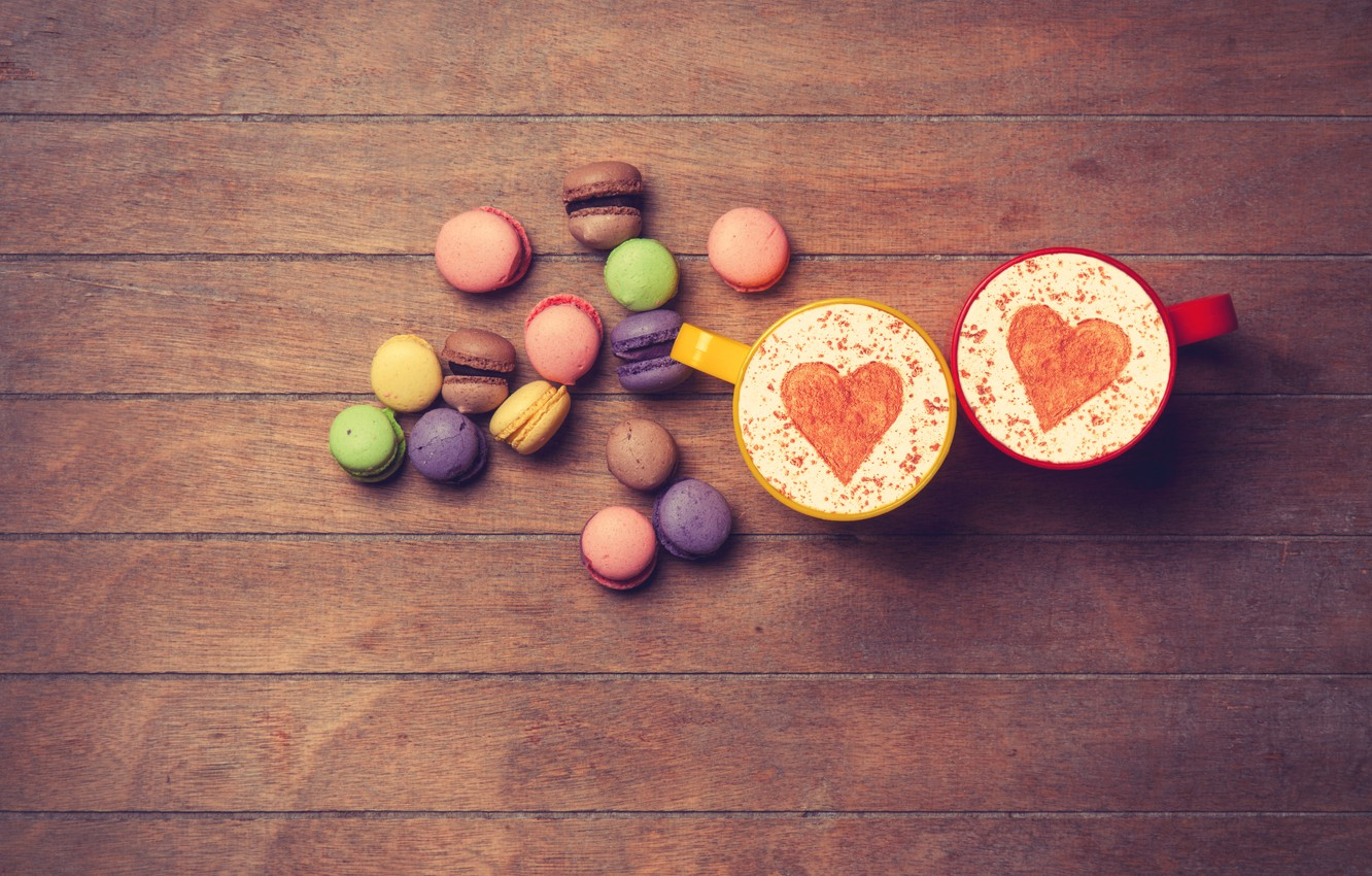 Photo wallpaper heart, colorful, love, heart, wood, romantic, coffee cup, macaroons, macaron, a Cup of coffee, macaroon