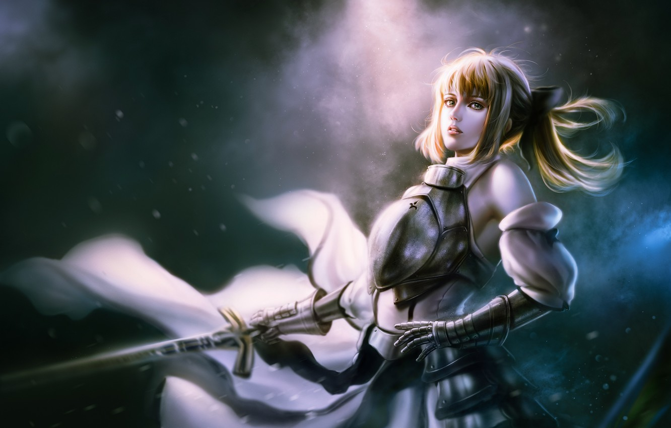 Photo wallpaper girl, space, anime, art, the saber, Fate stay night, Fate / Stay Night