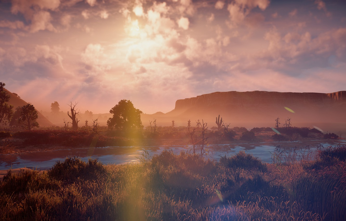Photo wallpaper landscape, sunset, river, rocks, desert, exclusive, Playstation 4, Guerrilla Games, Horizon Zero Dawn
