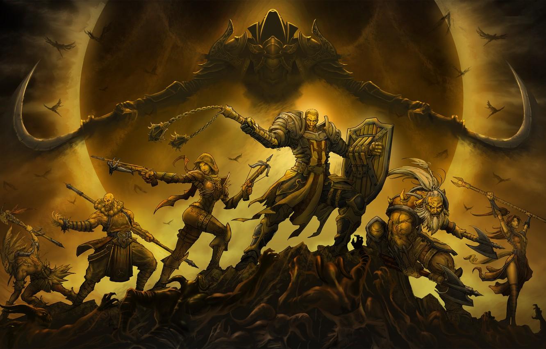 Photo wallpaper The game, Angel, Style, Battle, Blizzard, Art, Art, Style, Fiction, The sorcerer, Fiction, Diablo III, …