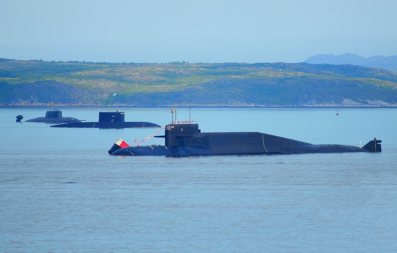 Photo wallpaper parade, submarines, Severomorsk