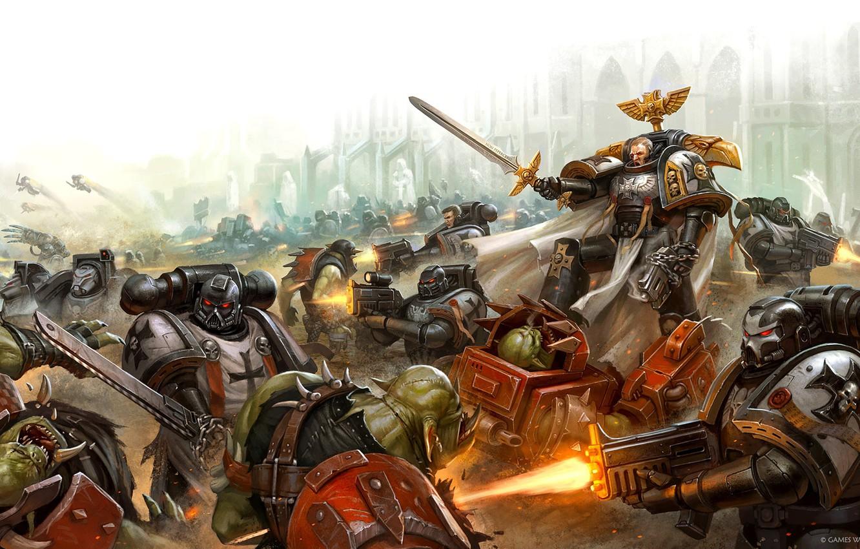 Photo wallpaper Black Templars, orcs, space Marines, space marines, battle, orcs, Warhammer, Warhammer 40 000, Black Templars