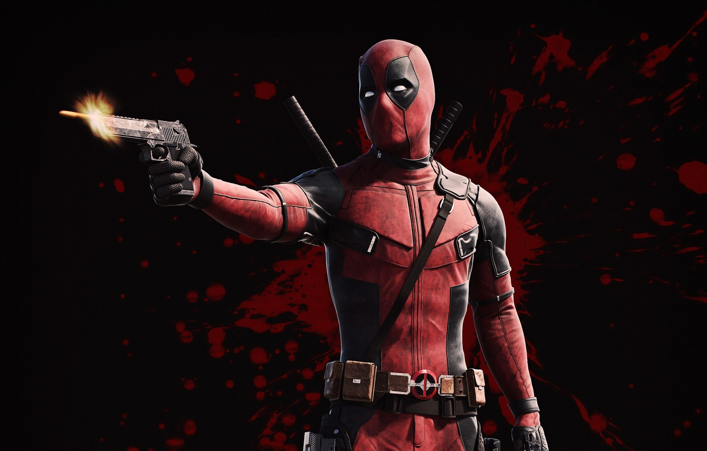 Photo wallpaper gun, weapons, background, fiction, blood, shot, bullet, mask, costume, Ryan Reynolds, Ryan Reynolds, Deadpool, Deadpool, …