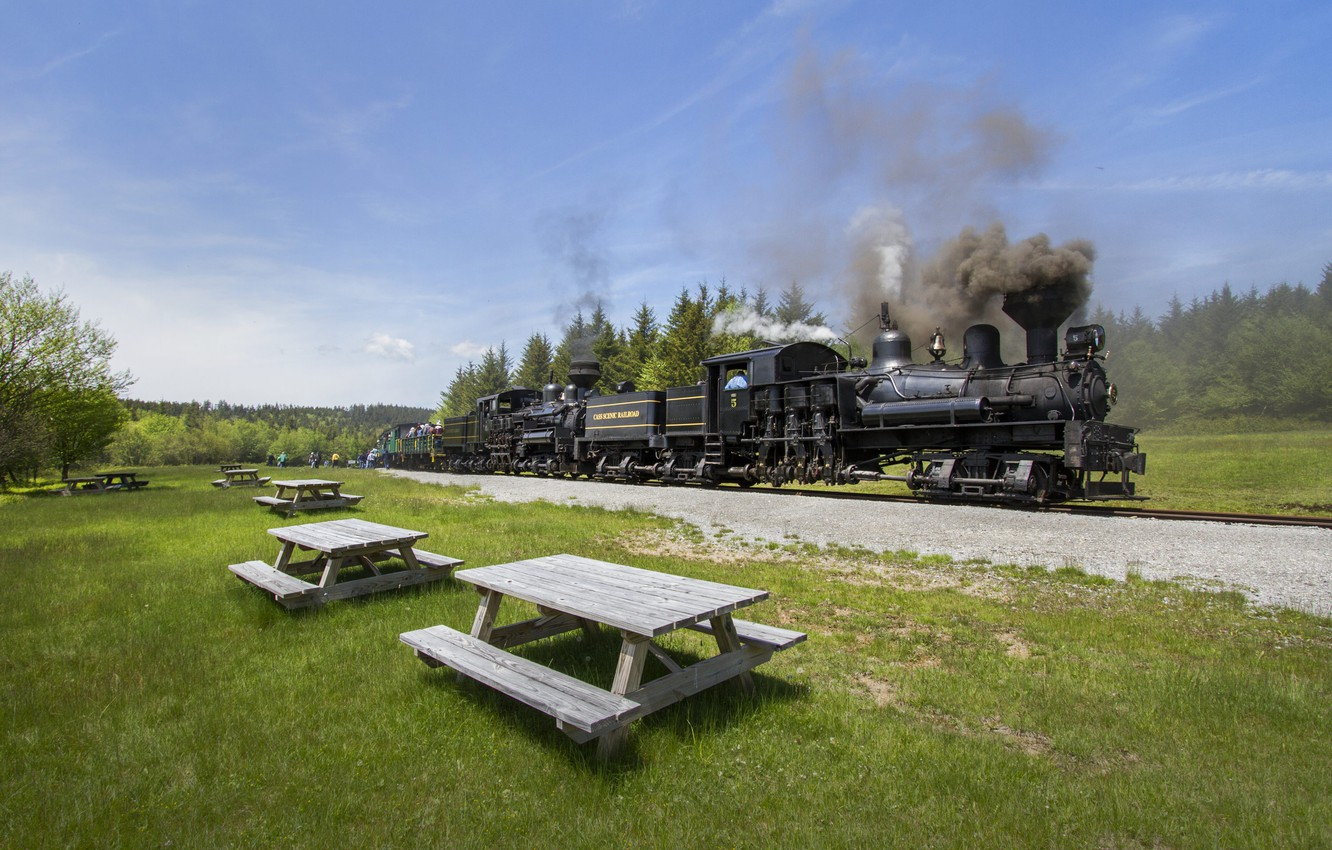 Photo wallpaper Mountains, Grass, Trees, Smoke, The engine, Rails, Couples, Table, The engine system Neck