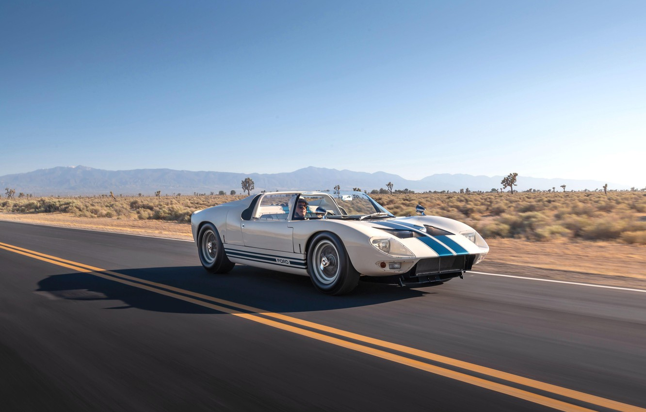 Photo wallpaper road, Roadster, driver, 1965, Ford GT40, Prototype (GT108)