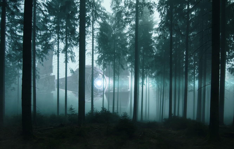Photo wallpaper forest, light, trees, night, fog, fiction, ship, UFO, morning, pine, twilight, spotlight, crown, spaceship, aliens, …