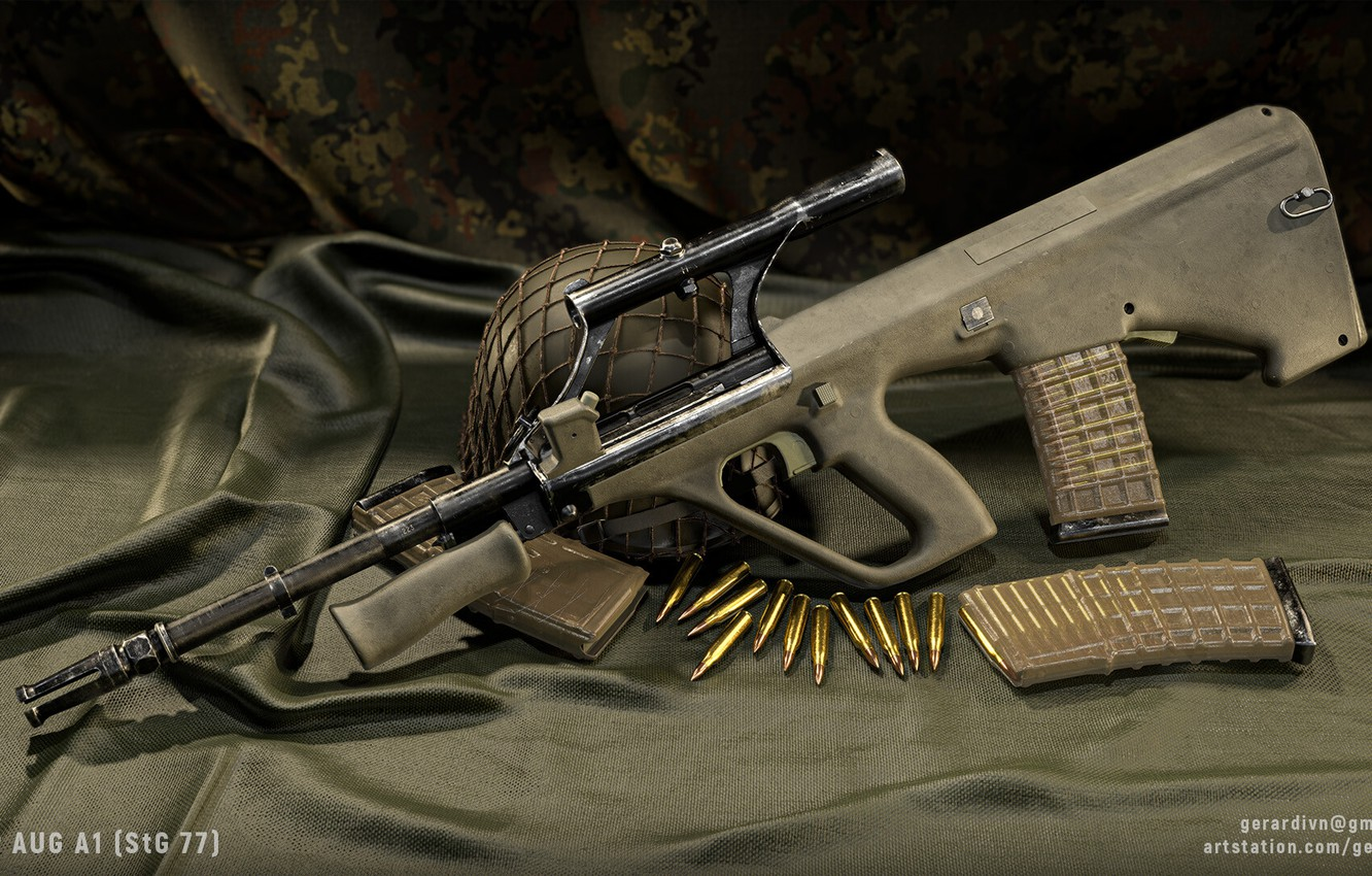 Photo wallpaper rendering, weapons, machine, rifle, weapon, render, custom, render, 3d art, AUG, assault rifle, assault Rifle, …
