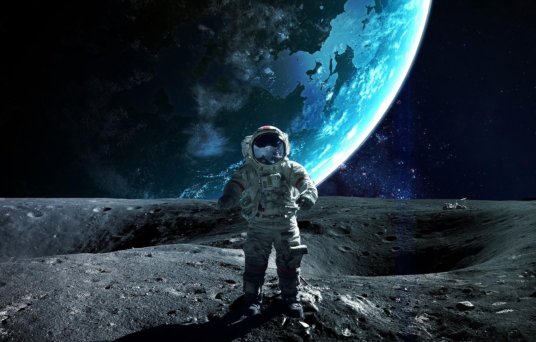 Photo wallpaper planet, astronaut, sci fi