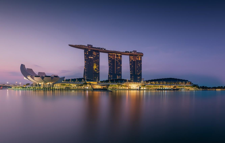 Photo wallpaper Singapore, architecture, Morning, Marina Bay