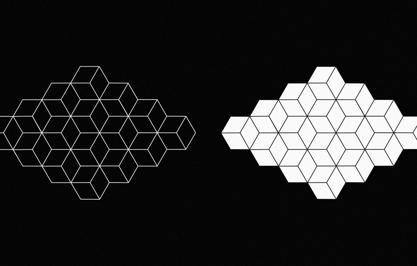 Photo wallpaper white, abstraction, black, figure, white, geometry, black, monochrome, monochrome, figure, geometry