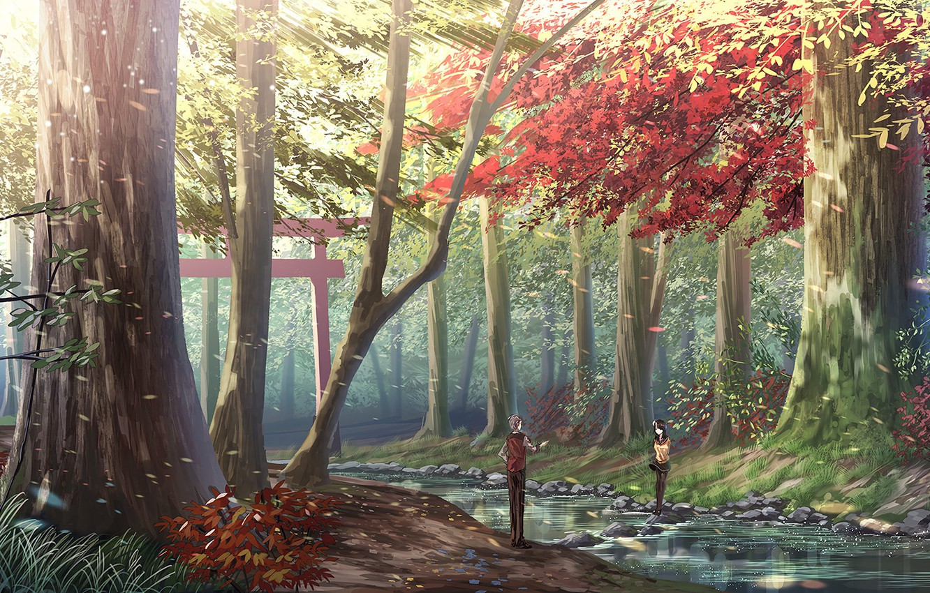 Photo wallpaper stones, two, Sunny day, autumn forest, torii, forest stream, the guy with the girl