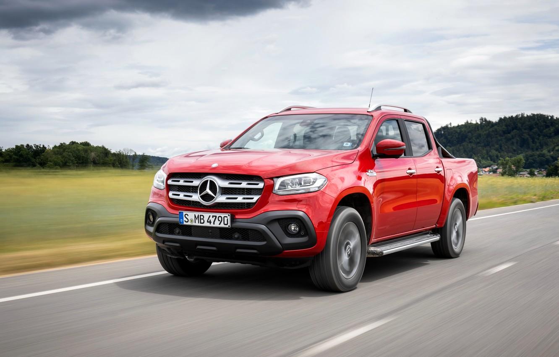 Photo wallpaper red, Mercedes-Benz, highway, pickup, 2018, X-Class