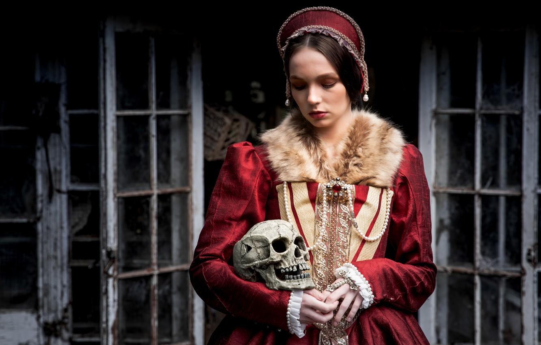 Photo wallpaper girl, style, skull