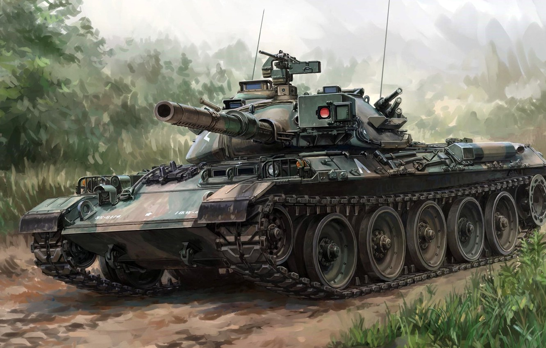 Photo wallpaper Mitsubishi, Type 74, Mitsubishi Heavy Industries, Japanese main battle tank of the 1970-ies