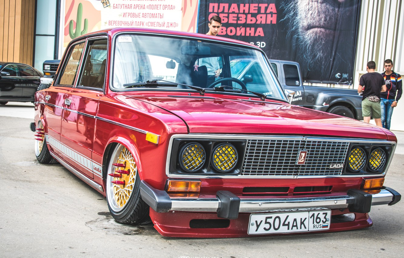 Photo wallpaper retro, background, Wallpaper, red, classic, legend, Lada, Lada, vaz, VAZ, 2106, Schoch, Lada