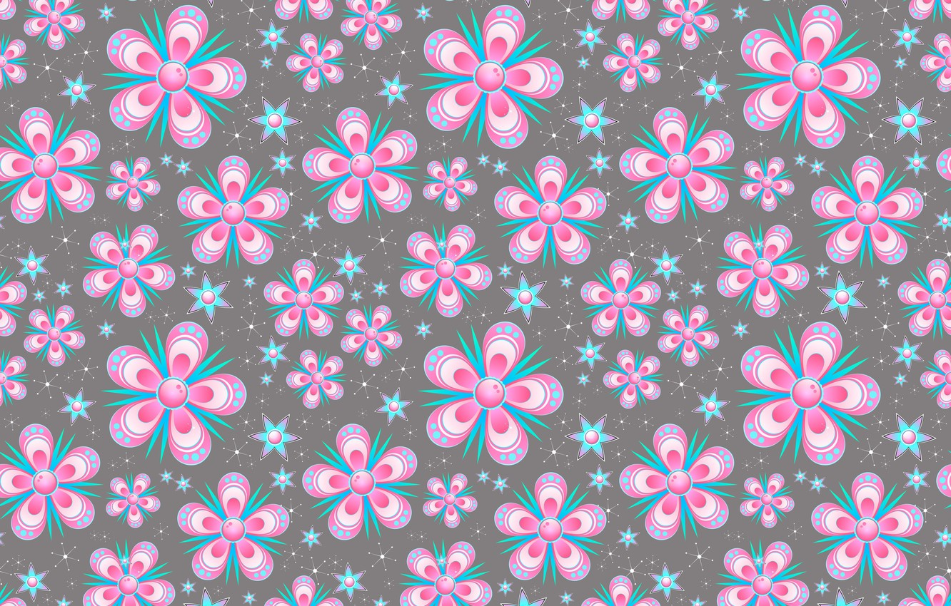 Photo wallpaper flowers, snowflakes, background, graphics, texture, stars, digital art