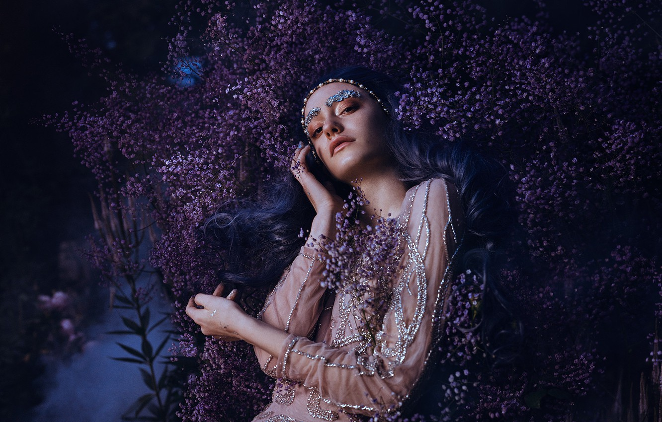 Photo wallpaper look, girl, flowers, pose, style, hands, makeup, dress, blue hair