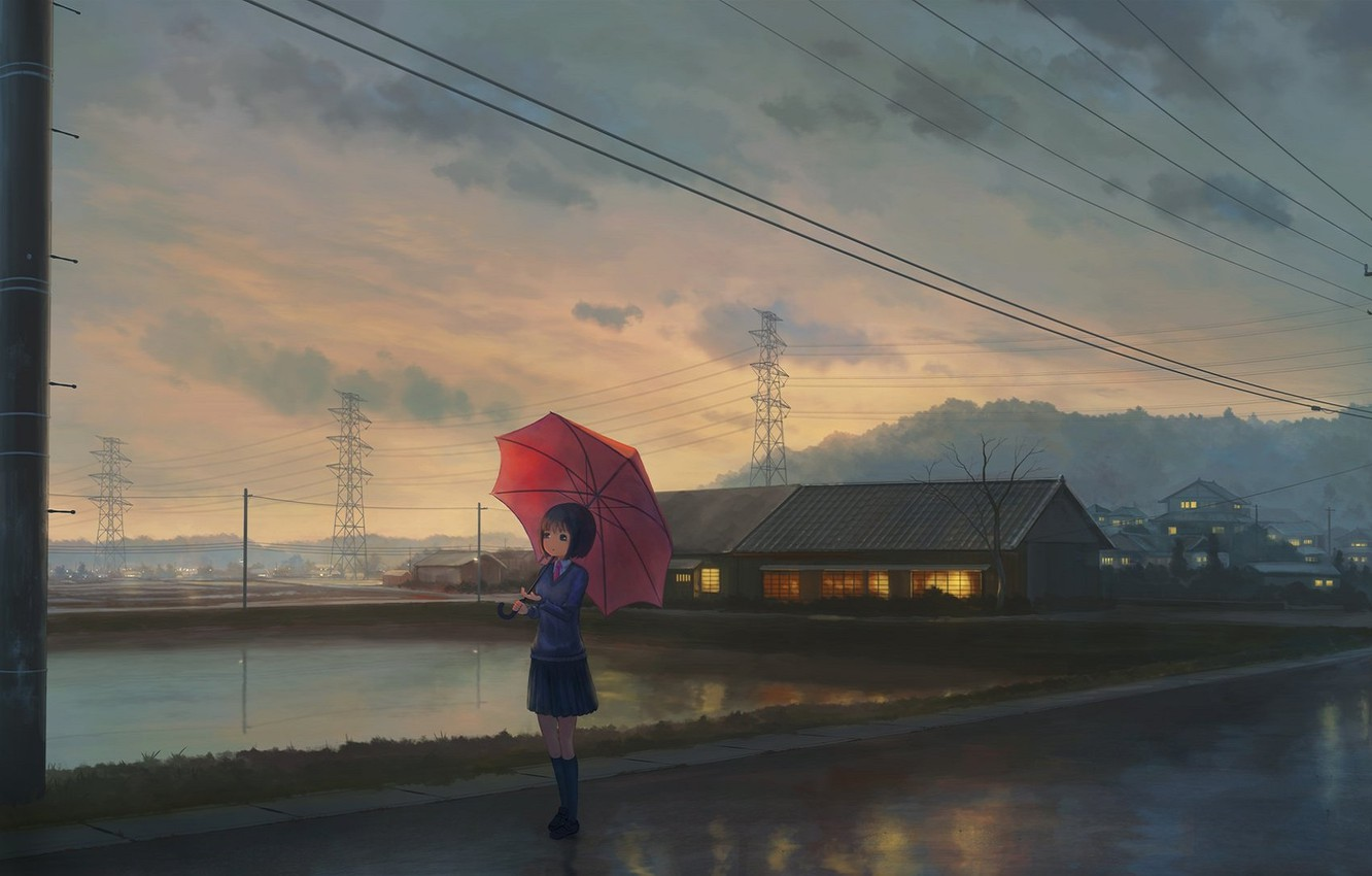 Photo wallpaper posts, wire, home, the evening, Japan, Power lines, schoolgirl, waiting, pond, asphalt after the rain, …