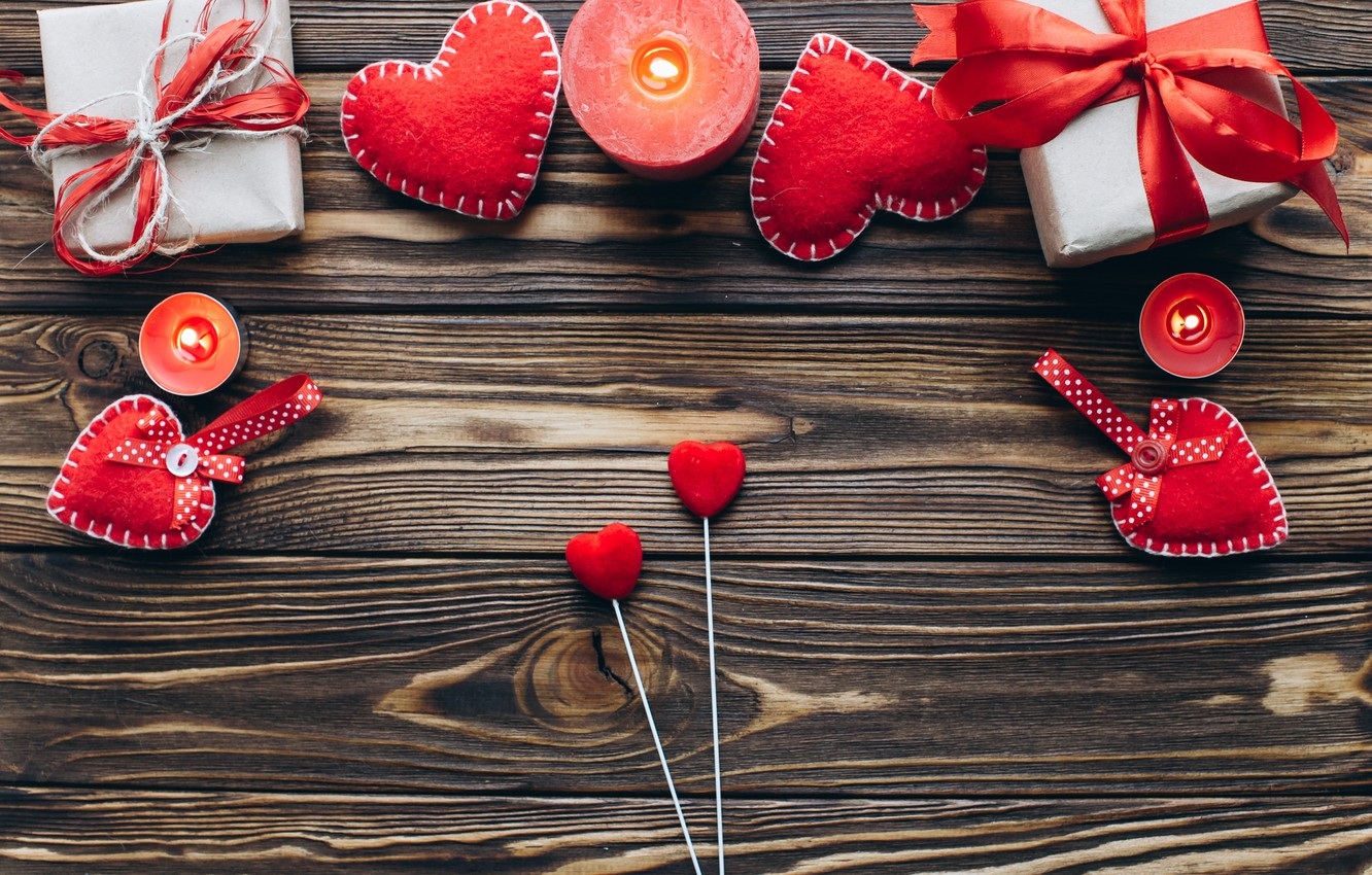Photo wallpaper love, gift, heart, candles, hearts, red, love, heart, wood, romantic, valentine's day, gift