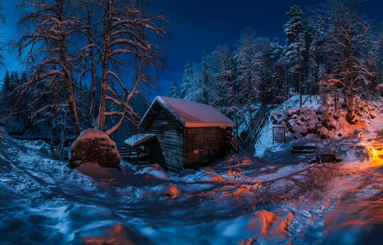 Photo wallpaper winter, forest, snow, trees, night, hut, hut, the fire, Finland, Finland, Myllykoski, Мюллюкоски