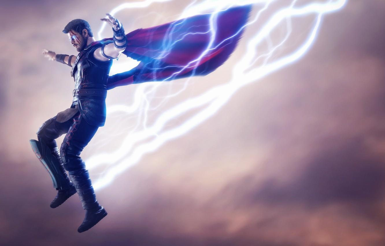 Photo wallpaper jump, zipper, lightning, Marvel, Thor, the God of thunder, god of thunder, Thor Ragnarok, Thor …