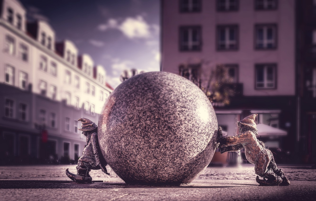 Wallpaper street, ball, Poland, dwarves, sculpture, Poland, Wroclaw, Wroclaw, Sisitka, Wroclaw dwarves images for desktop, section город - download