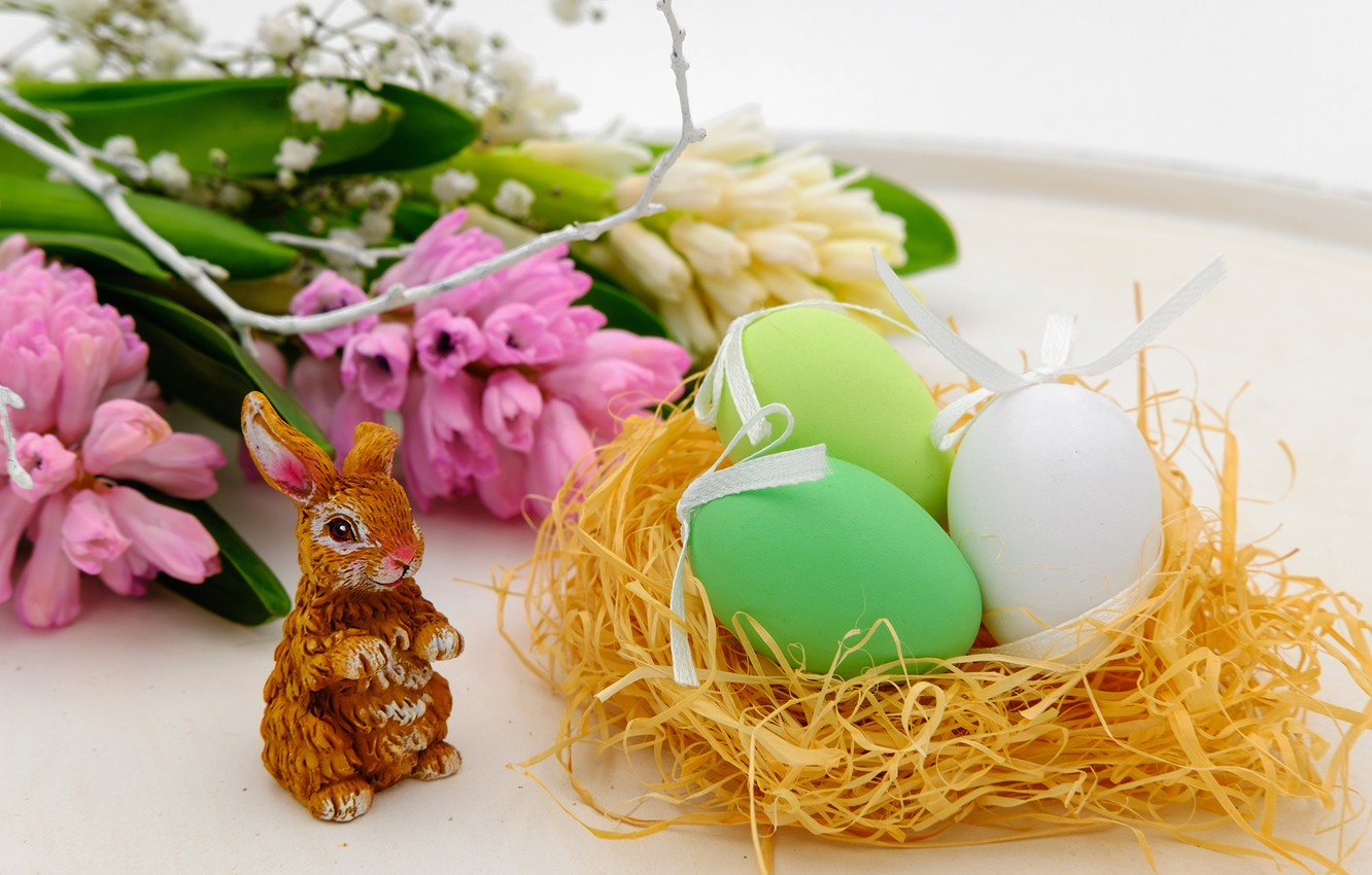 Photo wallpaper flowers, hare, eggs, Easter, Bunny, Easter