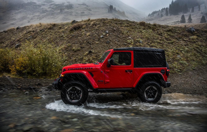 Photo wallpaper water, red, movement, rain, 2018, Jeep, Wrangler Rubicon