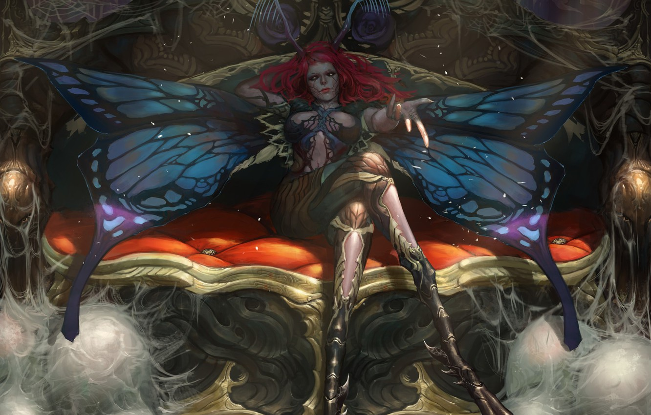 Photo wallpaper girl, fantasy, magic, wings, redhead, artwork, fantasy art, creature, sitting, couch, Butterfly, fantasy girl