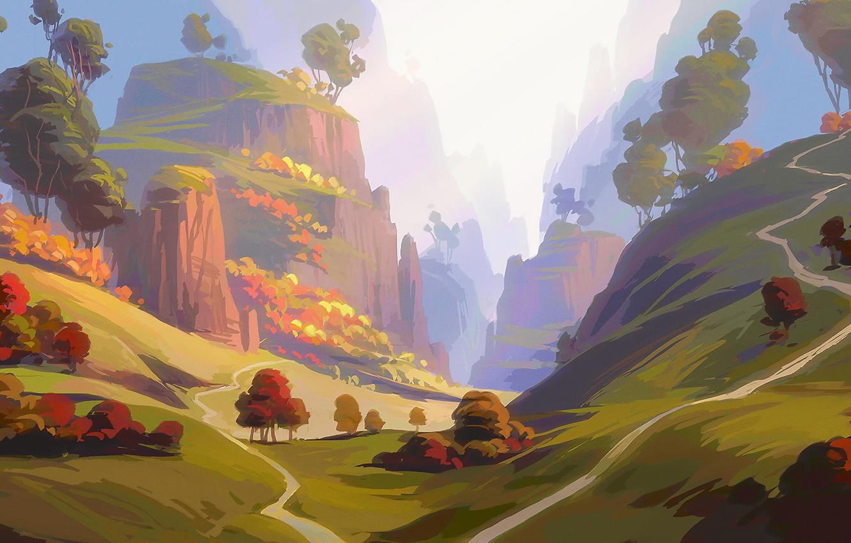 Photo wallpaper grass, Nature, sky, trees, landscape, art, mountains, clouds, hills, digital art, artwork, environment, meadow, path, …