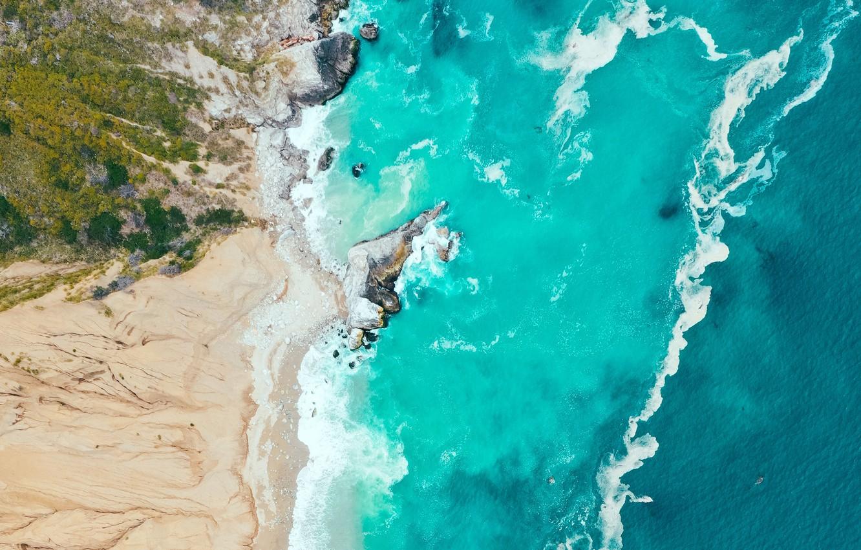 Photo wallpaper sand, sea, wave, landscape, nature, shore, vegetation, waves, sea, landscape, coast, nature, the view from …