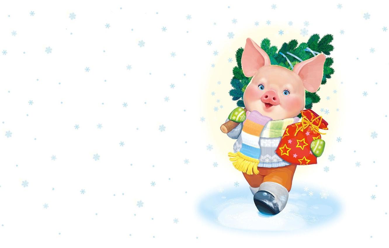 Photo wallpaper winter, mood, holiday, gift, art, New year, symbol, herringbone, snowflake, children's, pig