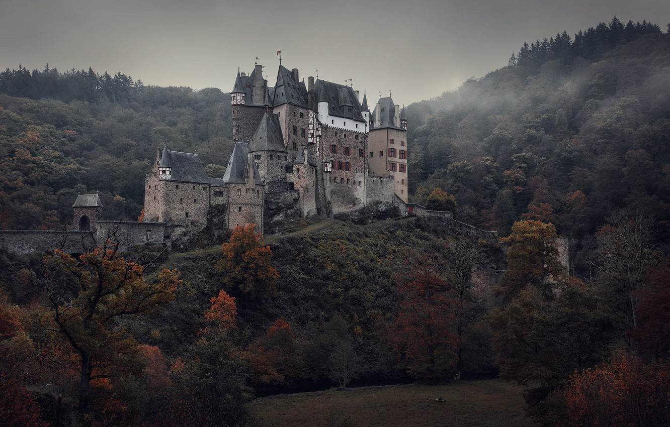 Photo wallpaper the sky, trees, mountains, Germany, ELTZ castle, medieval architecture