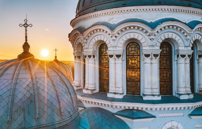 Photo wallpaper morning, Cathedral, Lithuania, Kaunas