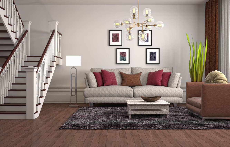 Photo wallpaper design, furniture, interior, ladder, chandelier, living room, living room