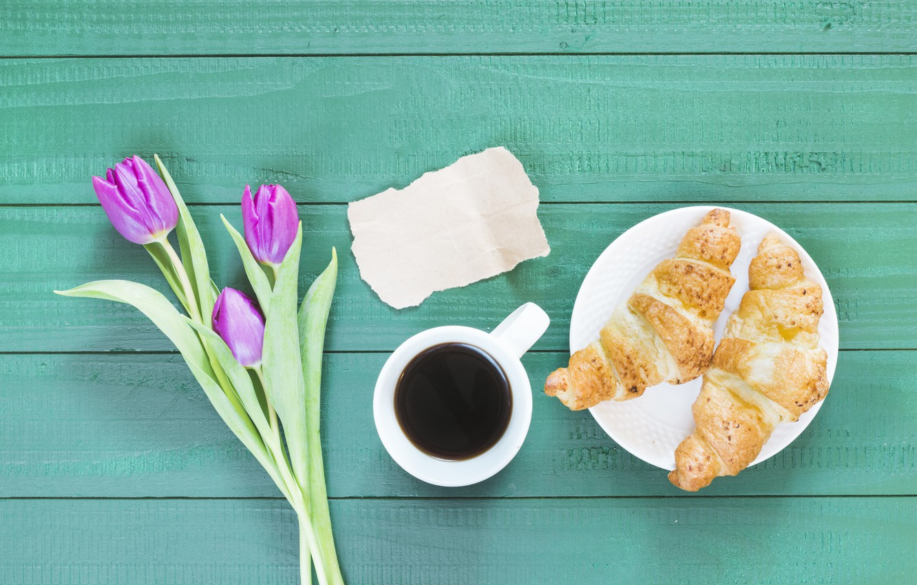 Photo wallpaper coffee, bouquet, Breakfast, breakfast, Croissant