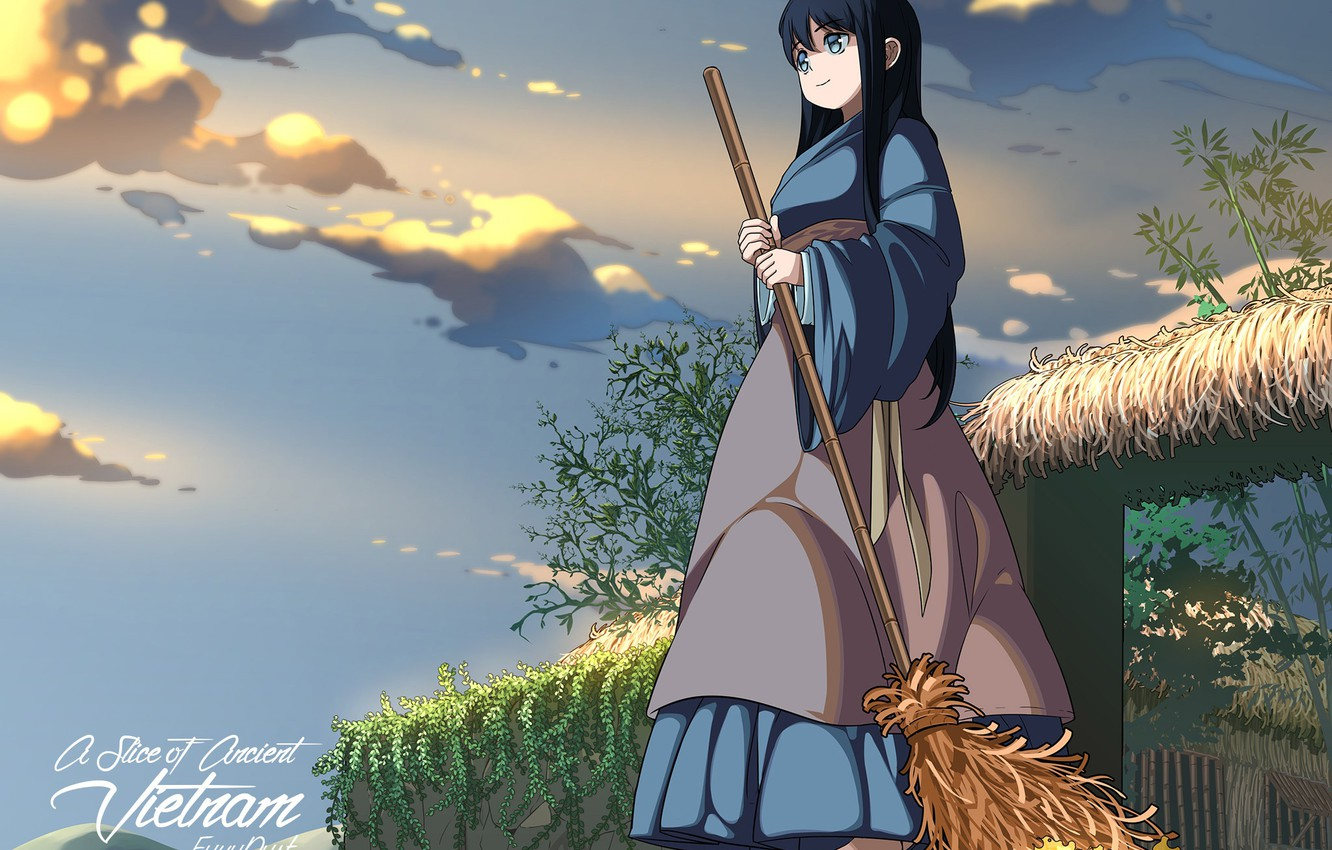 wallpaper the sky girl the evening broom images for desktop