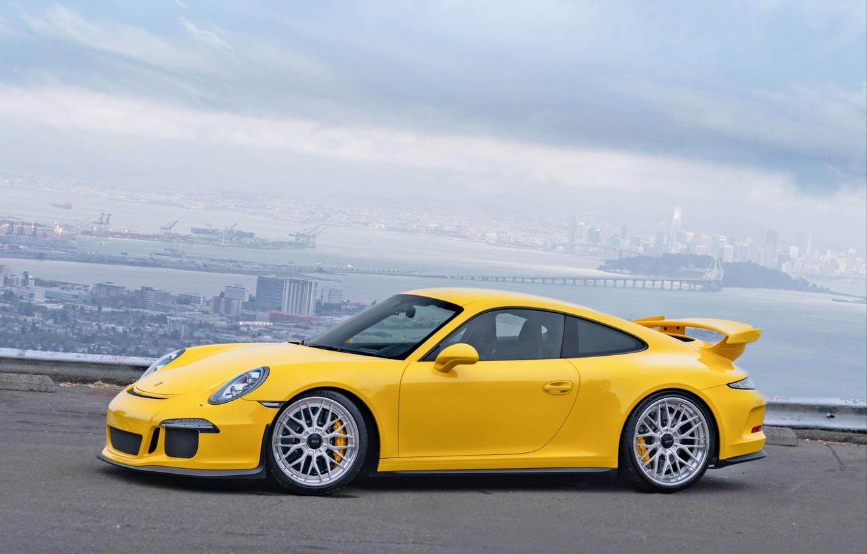 Photo wallpaper Porsche, GT3, Wheels, Strasse