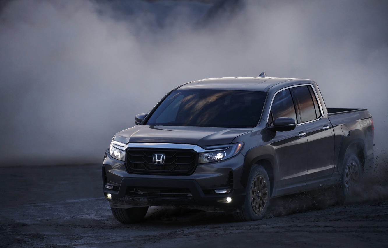 Photo wallpaper speed, dust, Honda, pickup, the ground, 2020, Ridgeline, 2021